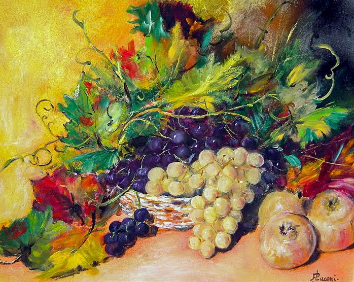 Frutta di stagione [COD. 020611] [50x40 cm] olio su tela