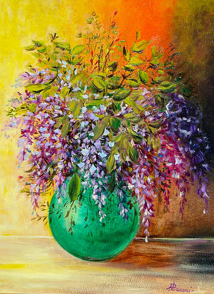 Glicine in vaso [COD. 090811] [35x50 cm] olio su tavola