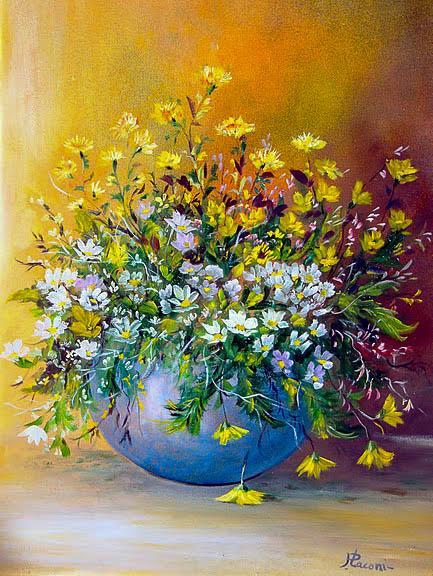 Vaso con fiori [COD. 100811] [35x50 cm] olio su tavola