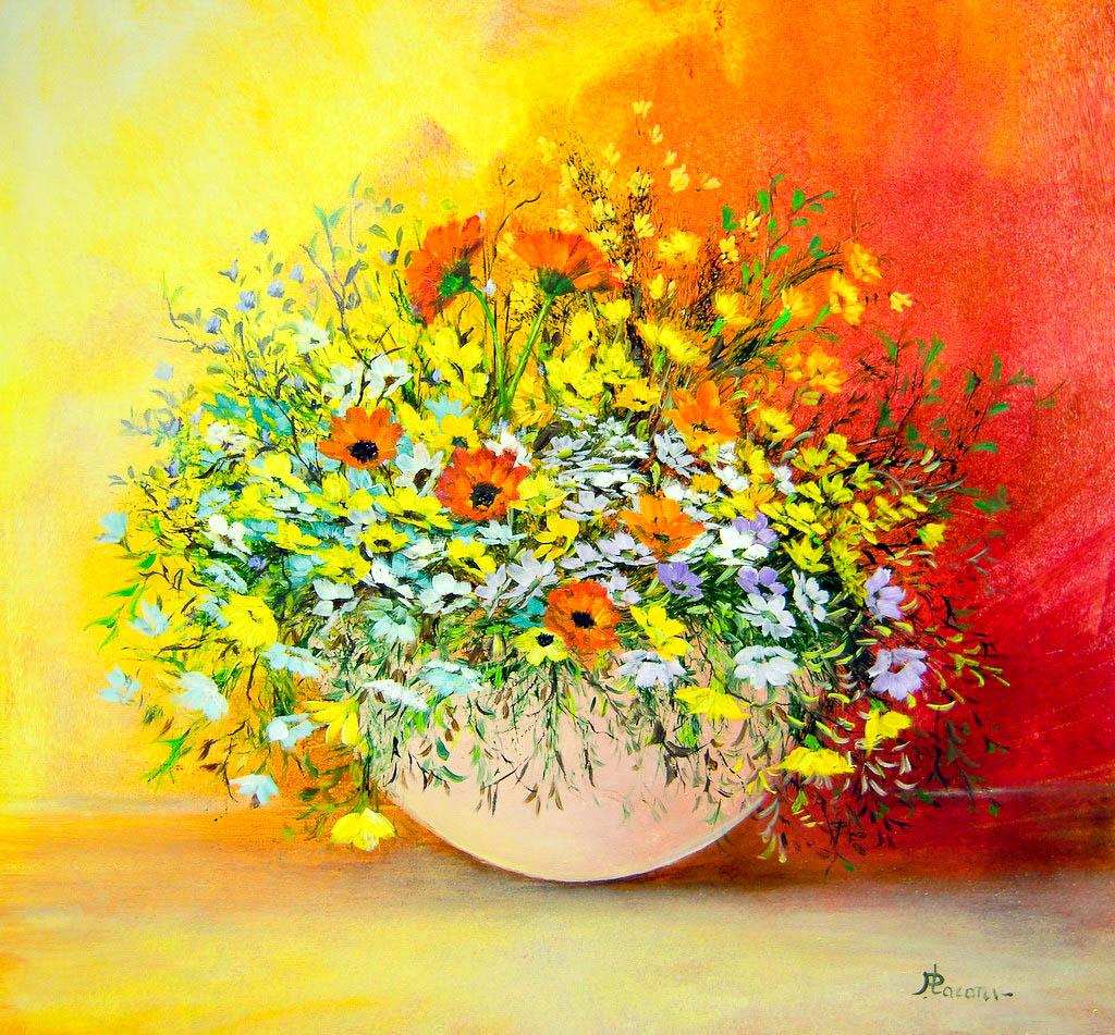 Vaso di fiori [DSCN1554] [50x50 cm] olio su tavola