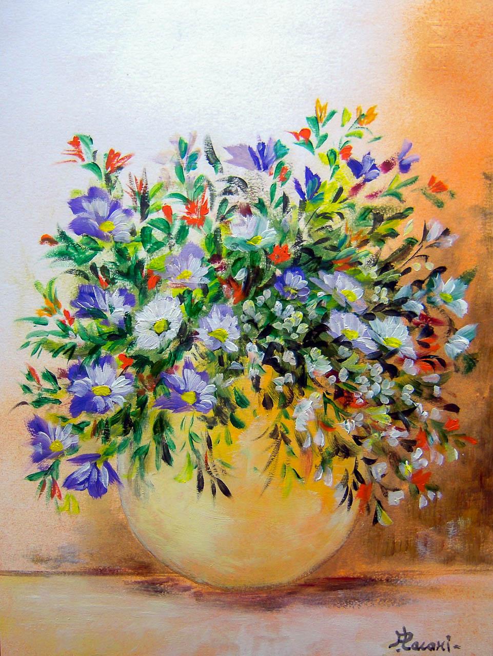 Vaso con fiori di campagna [COD. 2737] [24×33 cm] pittura ad olio