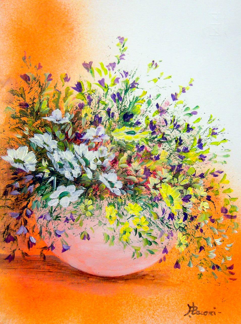 Vaso con fiori di campo [COD. 2824] [24×33 cm] pittura ad olio