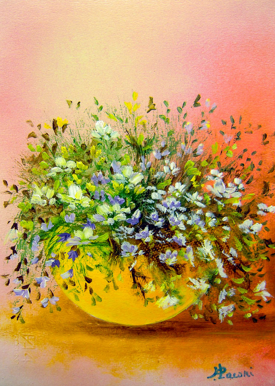 Vaso con fiori di campo [COD. 3011] [24×33 cm] pittura ad olio