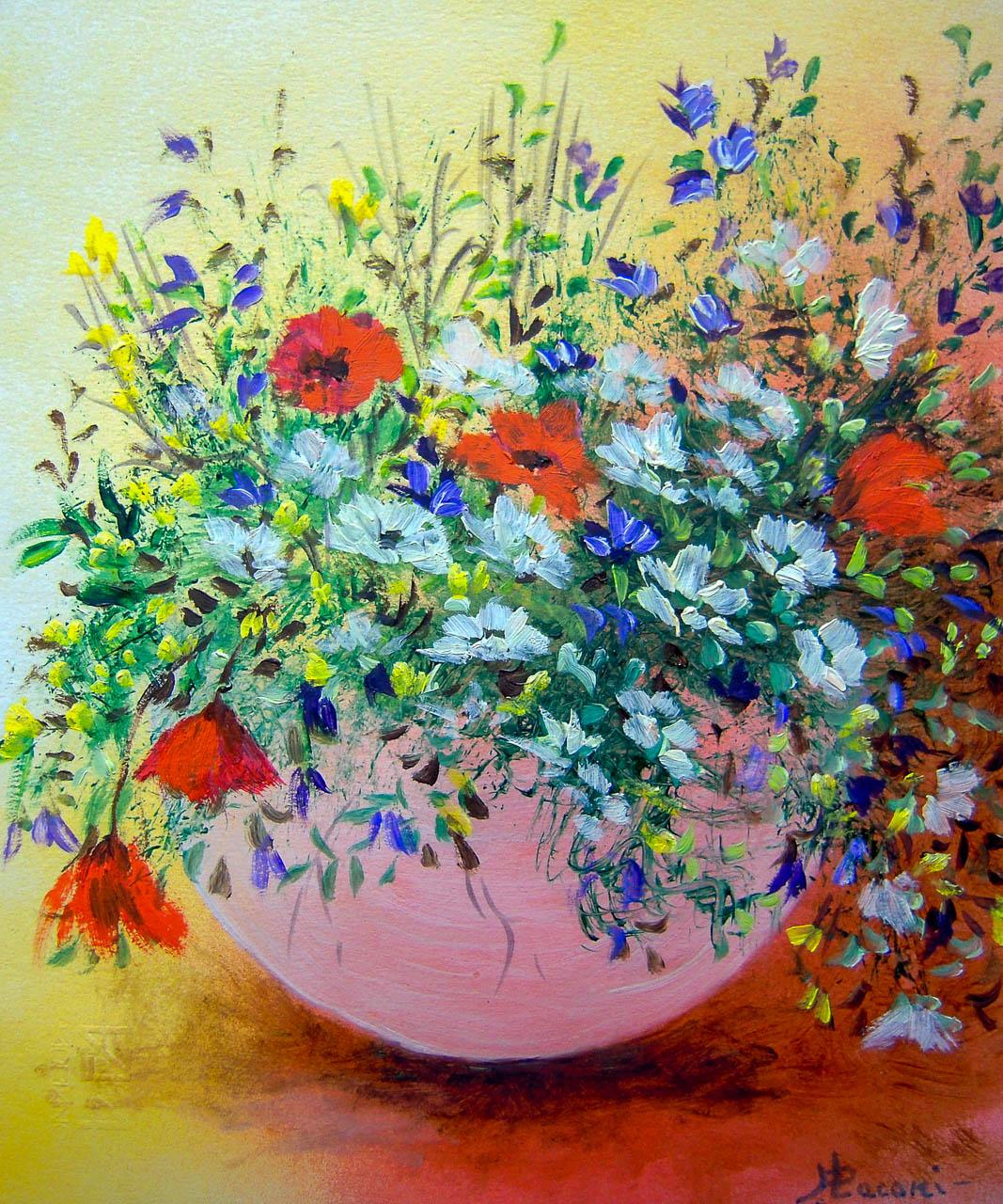 Vaso con fiori di campo [COD. 3030] [24×33 cm] pittura ad olio