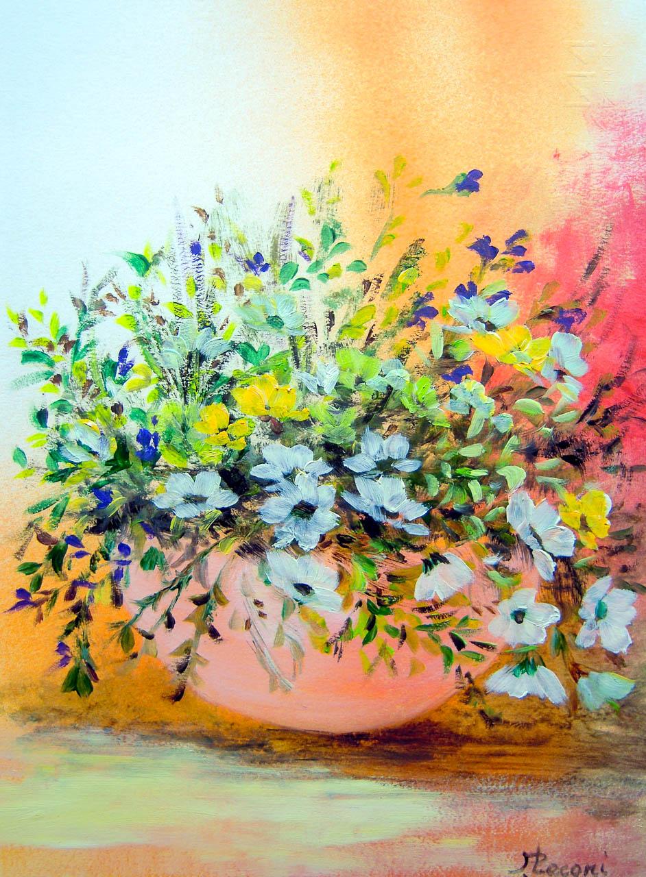Vaso con fiori di campagna [COD. 3030] [24×33 cm] pittura ad olio