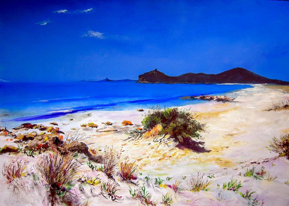 Spiaggia Villasimius [100x70 cm] olio su tavola