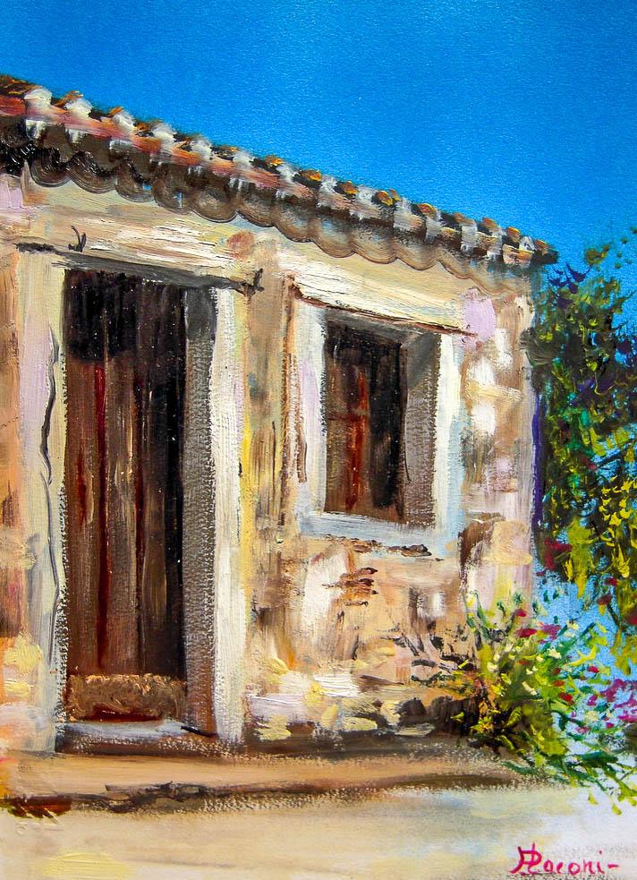 Case campidanesi [COD. 261111] [24x33 cm] pittura ad olio