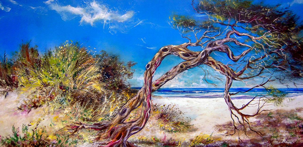 Alberi al sole [COD. 161012] [100x50 cm] olio su tavola