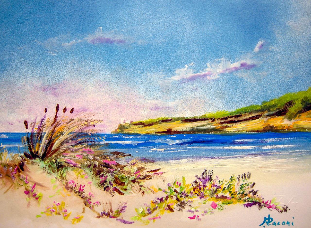 Paesaggio marino [COD. 3018] [33x24 cm] pittura ad olio