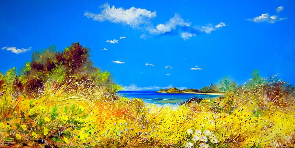 Paesaggio marino [COD. 091111] [100x50 cm] olio su tavola