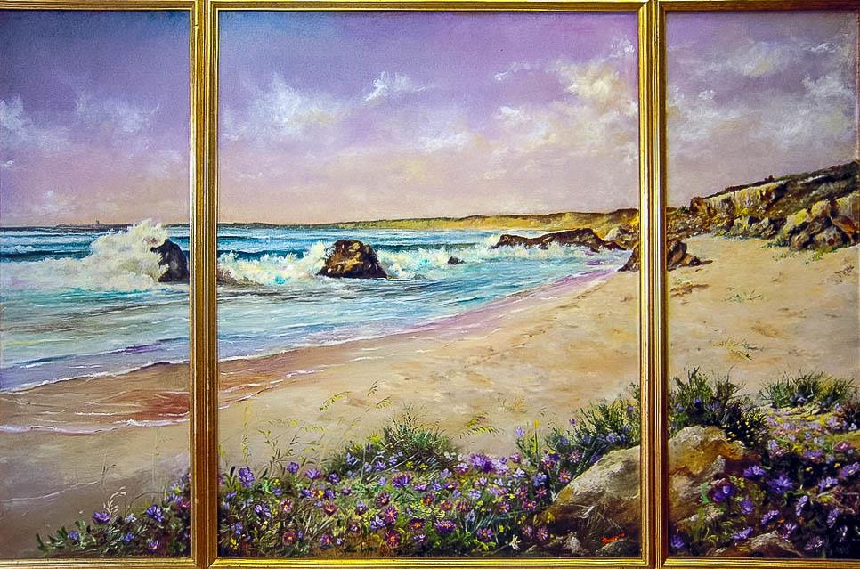 Finestra sul mare [150x100 cm] olio su tavola